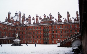 Snowball fight in the courtyard of Founders' Hall at Royal Holloway