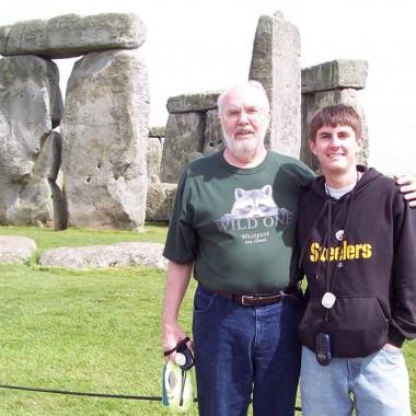 Jon Kammerdiener and Jason Kammerdiener visiting Stonehenge