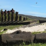 Ahu and fallen moai at Anakena Beach, Easter Island