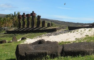 Ahu and fallen moai at Anakena Beach, Easter Island