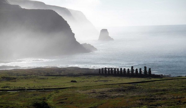 Tongariki Ahu on Easter Island, against a misty background