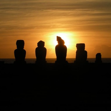 An ahu of moai on Easter Island at sunset