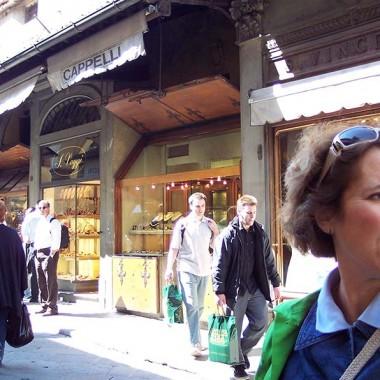 Cindy Kammerdiener visiting Ponte Vecchio in Florence, Italy