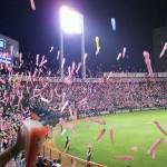 Fans release noise-making balloons at a Hirshima Toyo Carp baseball game