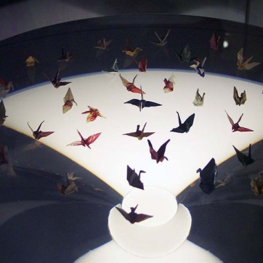 Paper cranes on display at the Hiroshima Peace Memorial Museum