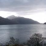 Loch Lomond in Scotland on a misty day