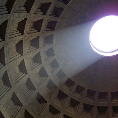 Light streams in the open top of the Roman Pantheon, and architectural marvel.