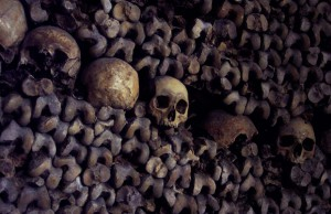 Bones and skulls stacked in the catacombs under Paris, France