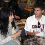 Jason Kammerdiener discussing cultural differences with Japanese student Saori Tsuchiya