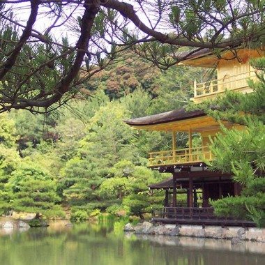 Temple of the Golden Pavilion in Japan as seen over the water