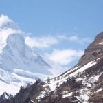 Clouds wisping around the snowy Matterhorn.