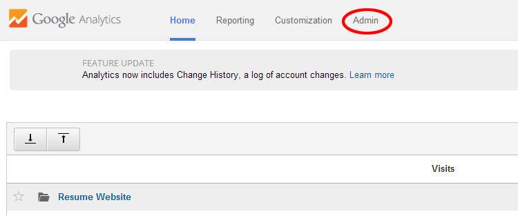 Screenshot from Google Analytics highlighting the Admin button