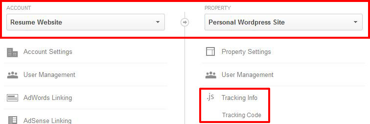 Screenshot highlighting the location of the tracking snippet in the menu