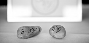 """Two stones reading """"6-29-13"""" and """"K+J"""""""
