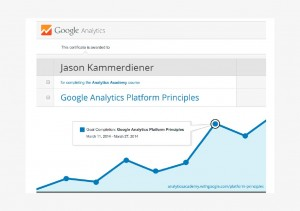 "Certificate reading ""This certificate is awarded to Jason Kammerdiener for completing the Analytics Academy course Google Analytics Platform Principles"""