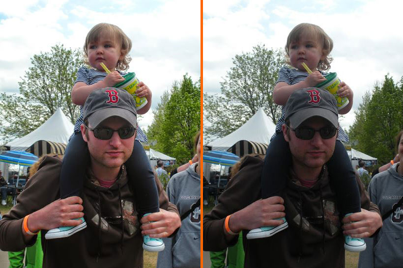 A comparison of two photos, highlighting the improved quality after using Google+ Auto Awesome