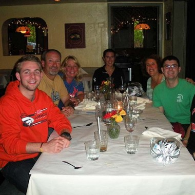 Katie, Leah, Mom, Aunt Ginger, Jason, Adam, and Uncle Barry at the Northside Inn for dinner