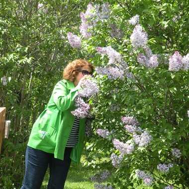 Mom smells the lilacs