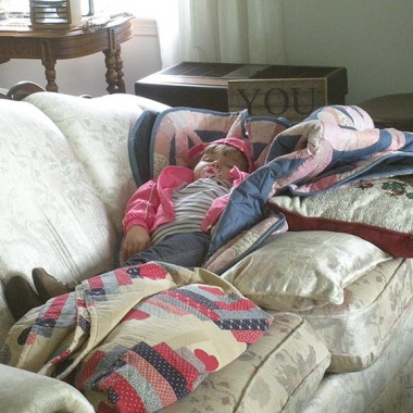 Addy napping on the couch