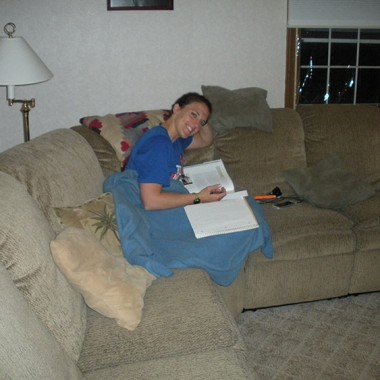 Katie studying on the couch