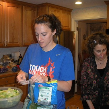 Katie and Mom make salad