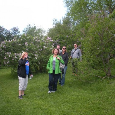 Members of the family trek through the lilacs
