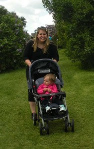 Sarah pushes Addy in her stroller