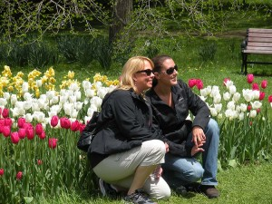 Leah and Aunt Ginger pose for a photo at the tulip garden