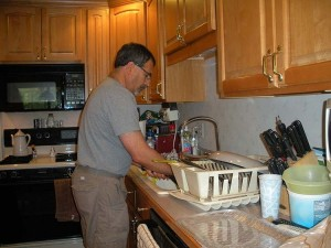 Uncle Mike doing the dishes