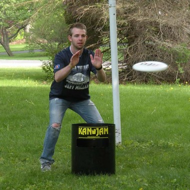Adam preparing to tap the frisbee in Kan Jam