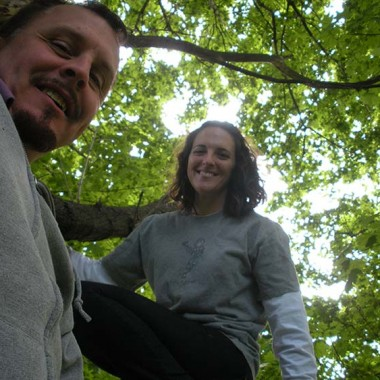 Katie and Doug, as seen from in the tree