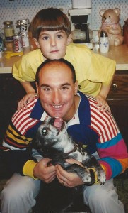 Uncle Jeff, Snickers, and I clowning around when I was about 10 years old.