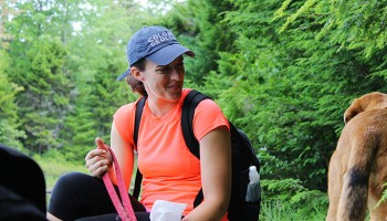 Katie smiles at Hines while sitting near Bubb Lake