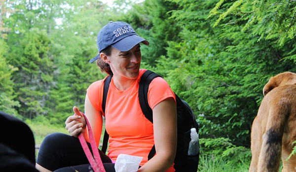 Katie smiles at Hines while sitting near Bubb Lake