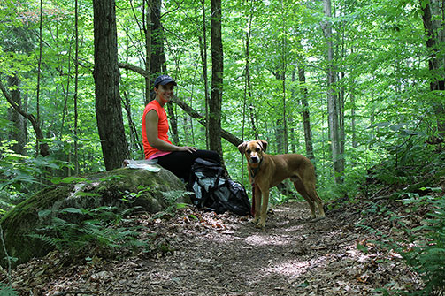 Katie and Hines stop for lunch on the Vista Trail in the Adirondacks
