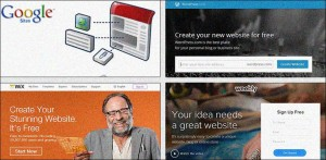 Screenshots from the homepages of several top site-building tools