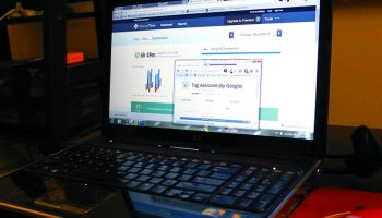 Laptop with tools showing on screen