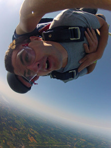 Jason during tandem skydiving free fall
