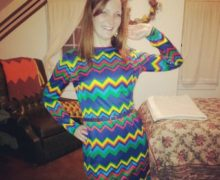 Katie Mutz rocks a colorful vintage zig-zag dress