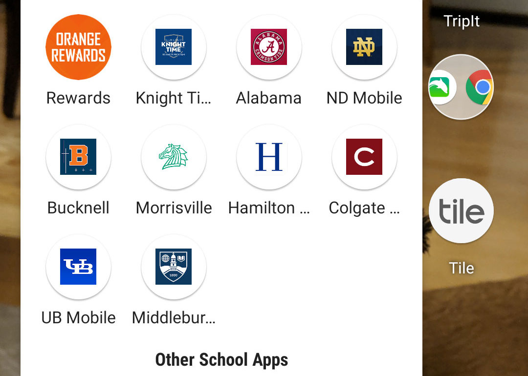 Screenshot of several college and university mobile apps on a smartphone home screen